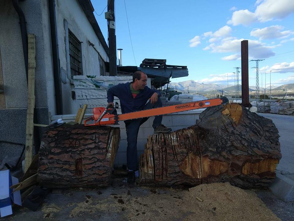tala con sierra para troncos grandes